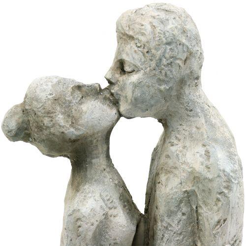 Figura decorativa coppia che si bacia in pietra cast 40cm