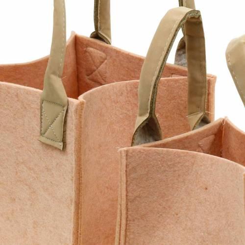 Borsa in feltro rosa fioriera con manici decorazione in feltro set di 2