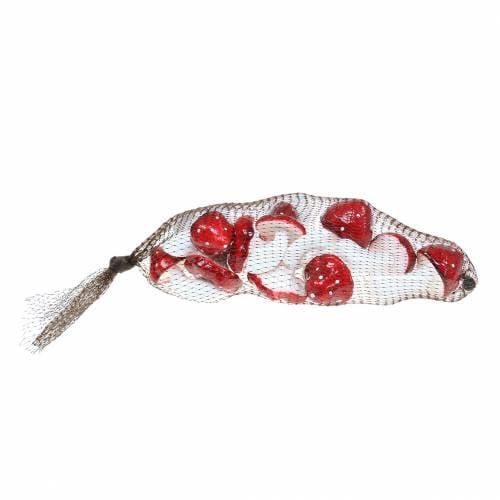 Set decorativo di agarico di mosca rosso, bianco 6–7 cm 12 pezzi