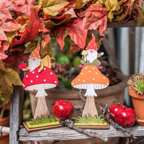 Agarico di mosca per l'autunno, decorazione in legno, gnomo su fungo arancione / rosso H21 / 19,5 cm 4 pezzi