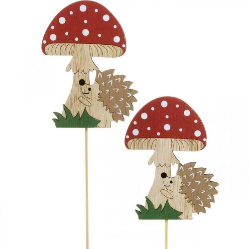 Spina decorativa, decorazione autunnale in legno, riccio con fungo H11cm L34cm 12 pezzi