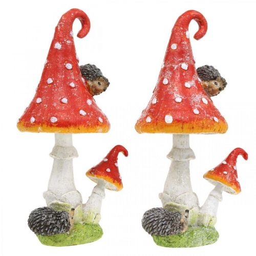 Agarico di mosca con decorazione di ricci decorazione della tavola di funghi autunno H22cm 2 pezzi