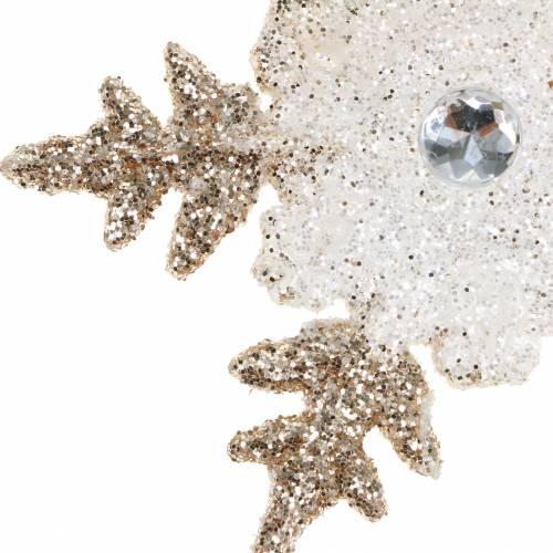 Decorazione per albero di Natale Fiocco di neve Perle scintillanti 2 pezzi