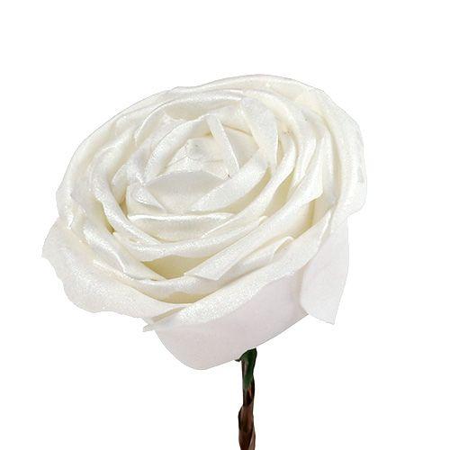 Schiuma-Rosa bianca con madreperla Ø10cm 6 pezzi