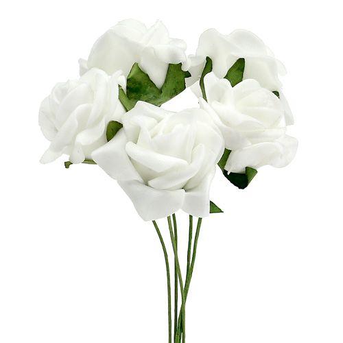 Rosa in schiuma Ø 3,5 cm bianca 48 pezzi