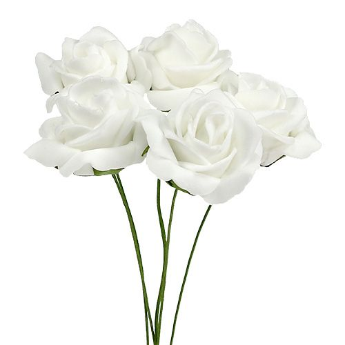 Rosa in schiuma Ø4,5 cm bianca 36 pezzi