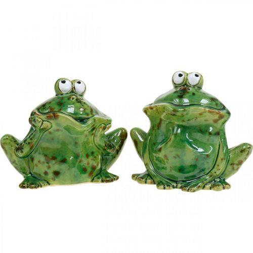 Coppia di rane, decoro in ceramica, rana decorativa, rane sedute