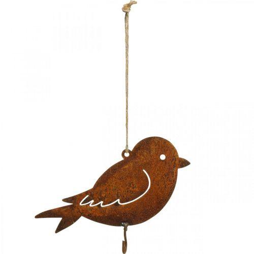 Uccello decorativo, appendiabiti, decorazione in metallo acciaio inossidabile 19 × 13,5 cm