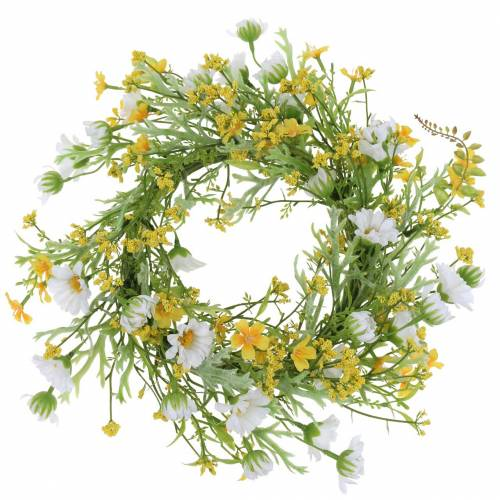 Ghirlanda di fiori con legno anemone bianco, giallo Ø30cm