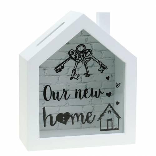 """Scatola Economy """"La nostra nuova casa"""" in legno vetro bianco 15x7cm H18cm"""
