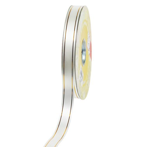 Nastro regalo 2 strisce d'oro su bianco 19mm 100m