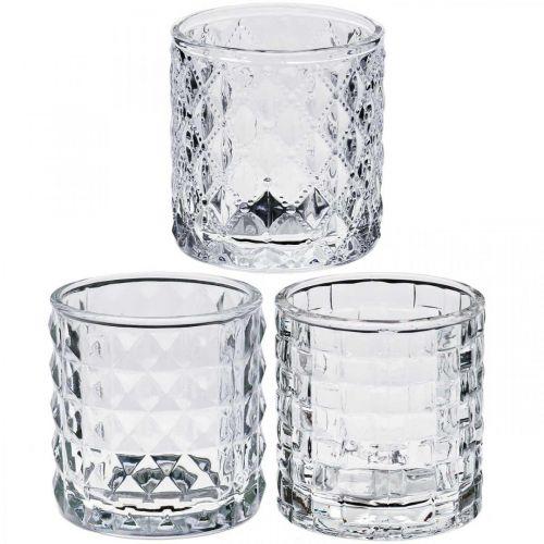 Mix di lanterne in vetro, decorazione di candele, vaso decorativo in vetro, decorazione da tavola 3 pezzi in un set