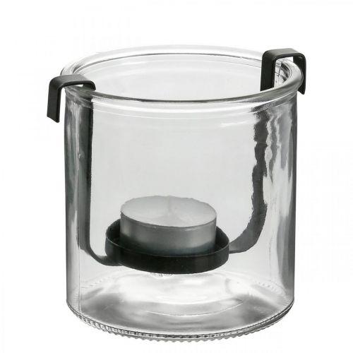 Lanterna in vetro con portacandela in metallo nero Ø9 × H10cm