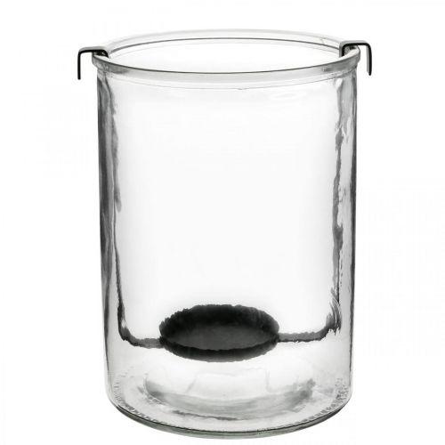 Lanterna in vetro con portacandela in metallo nero Ø13,5 × H20cm