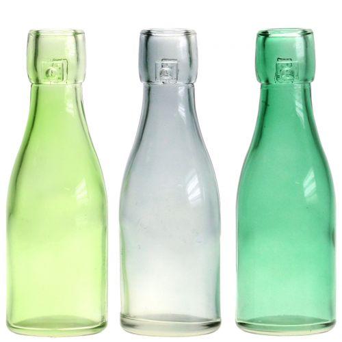 Vaso per bottiglie in vetro Ø5cm H16cm Verde / Grigio 6 pezzi