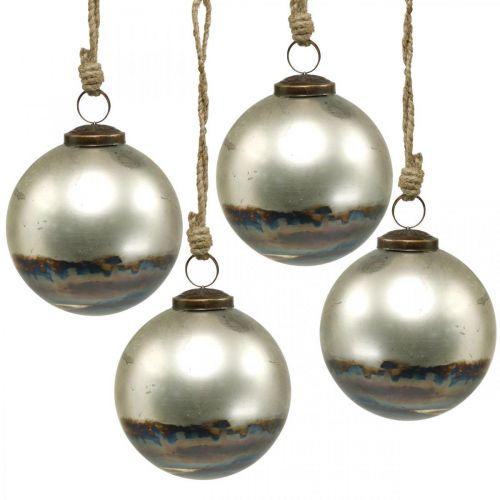 Palle di Natale palla di vetro bicolore blu, metallico Ø9,5cm 4 pezzi