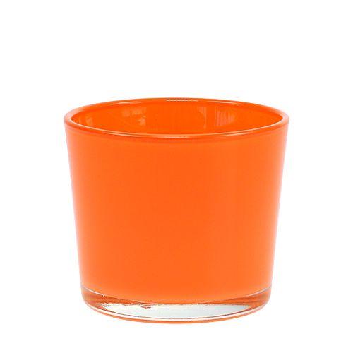 Vaso di vetro arancione Ø10cm H8,5cm