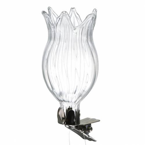 Vaso in vetro con fiore a clip Ø3,3cm H8,5cm trasparente 4 pezzi