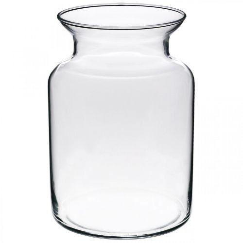 Vaso per fiori in vetro largo chiaro Ø12cm H20cm
