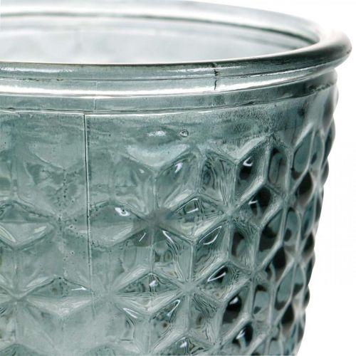Lanterna con piede, coppa in vetro, vetro decorativo grigio Ø10cm H18,5cm