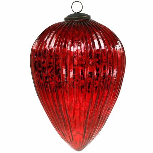 Coni in vetro per appendere decorazioni natalizie rosse grandi 22 cm