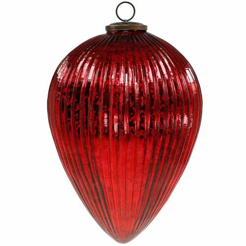 Addobbo natalizio per appendere rubinetto in vetro gigante rosso 27cm