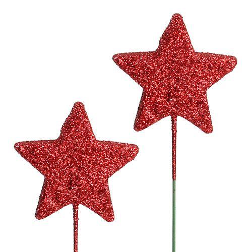 Stella glitterata su filo 5cm Rosso L23cm 48pz