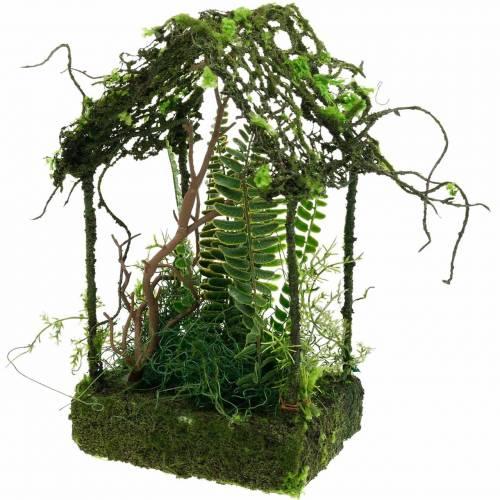 Casa di casa di erba decorazione muschio con muschio artificiale e felce