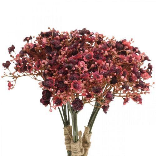 Gypsophila fiori artificiali rossi artificiali autunno 29,5 cm 18 pezzi