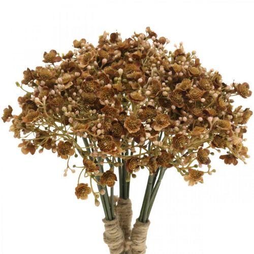 Gypsophila marrone artificiale per bouquet autunnale 29,5 cm 18 pezzi