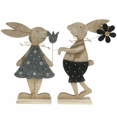 Coniglio decorativo in legno feltro 30 / 31,5 cm 2 pezzi