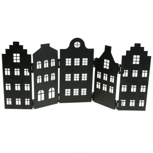 Deco casa in metallo nero stand city silhouette 40 × 18cm