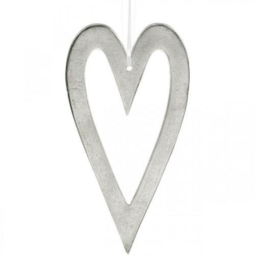 Cuore decorativo per appendere decorazioni nuziali in alluminio argento 22 × 12 cm
