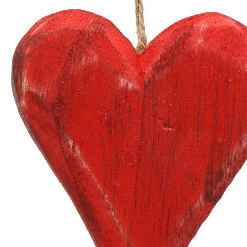 Cuori in legno appesi rosso, bianco 11,5 cm 4 pezzi