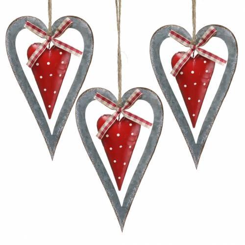 Cuore decorativo da appendere in metallo rosso, argento Ø8,8 H15cm 3 pezzi