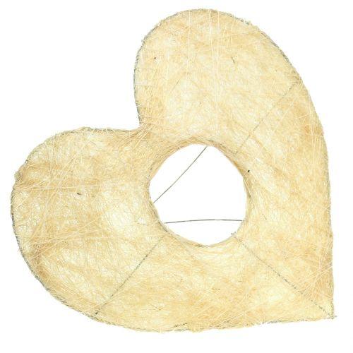 Polsino cuore in sisal sbiancato 25 cm 6 pezzi