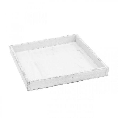 Vassoio decorativo bianco vassoio angolare in legno Shabby Chic 24,5 × 24,5 cm