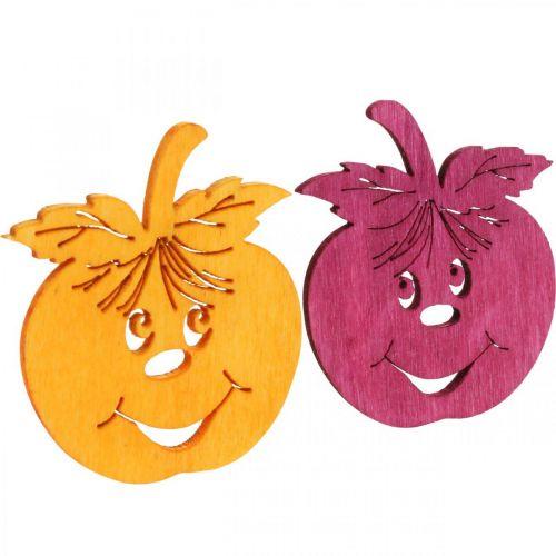 Streudeko mela che ride, autunno, decorazione da tavola, mela granchio arancione, giallo, verde, rosa H3,5 cm L4 cm 72 pezzi