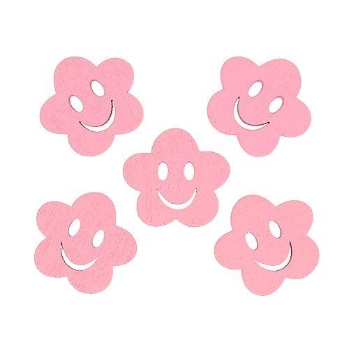 Fiore in legno con faccia Rosa 2,5 cm 48 pezzi