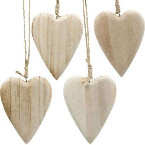 Cuori in legno da appendere naturale 10cm 4 pezzi