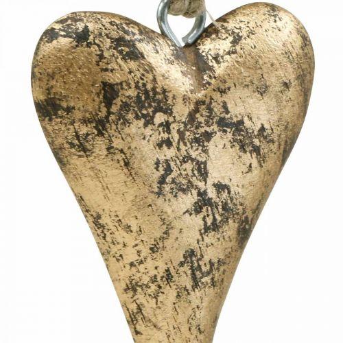 Cuore in legno effetto oro, San Valentino, decorazione matrimonio 10×7cm