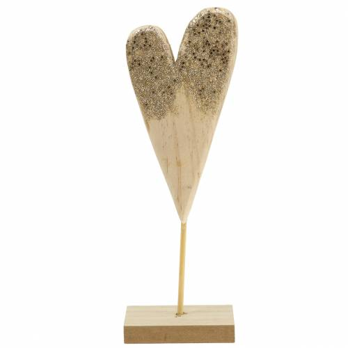Cuore decorativo sul supporto in legno con glitter H27cm