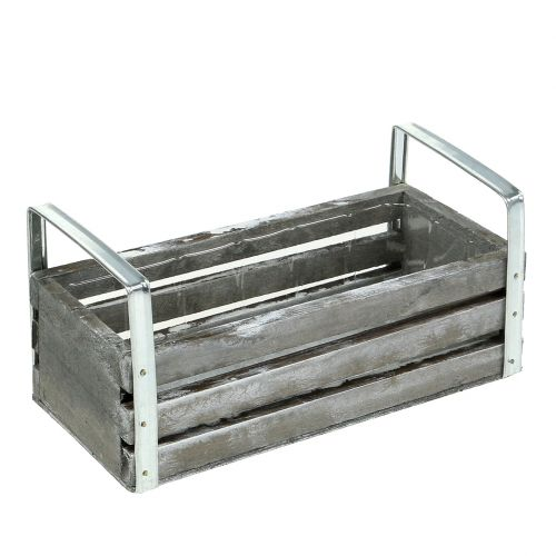 Scatola di legno grigia 20 cm x 9 cm H6 cm con manici