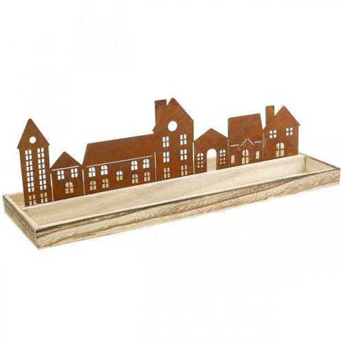 Vassoio rettangolare decorativo in legno con case patinate 50×17cm