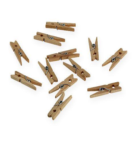 Clip decorative in legno 3cm natura 72 pezzi
