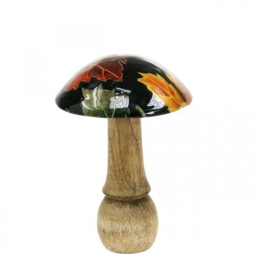 Fungo decorativo in legno foglie autunnali decorazione tavola nero, colorato Ø10cm H15cm