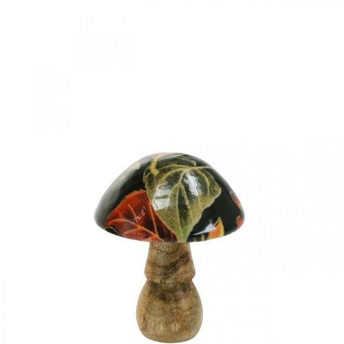 Fungo di legno foglie decorazione autunnale fungo legno di mango nero, colorato Ø8cm H10.5cm