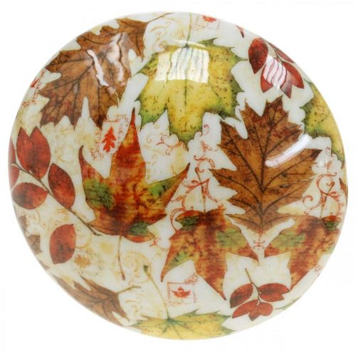 Decorazione di funghi in legno foglie autunnali bianche, decorazione autunnale colorata Ø13cm H19cm