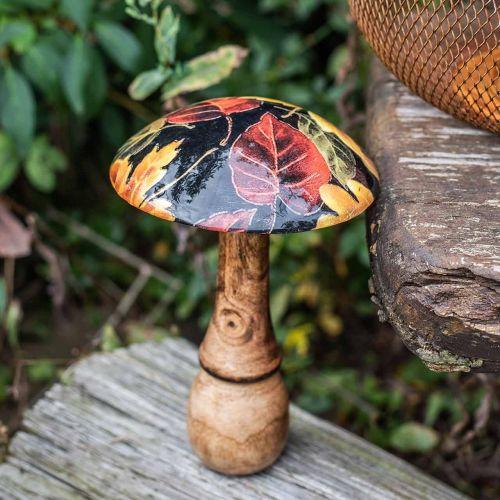 Decorazione funghi in legno foglie colorate decorazione autunnale nero, colorato Ø13cm H19cm