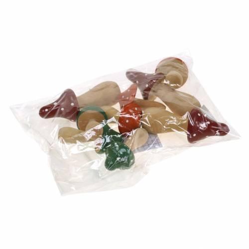 Toadstools decorativi in legno arancione, verde, rosso 6/8 / 10,5 cm 9 pezzi